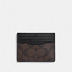 COACH F58110 Slim Card Case In Signature Canvas MAHOGANY/BLACK/BLACK ANTIQUE NICKEL