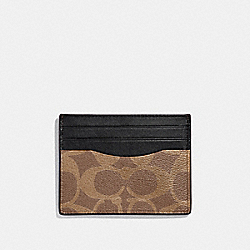 COACH F58110 Slim Card Case In Signature Canvas TAN/BLACK ANTIQUE NICKEL