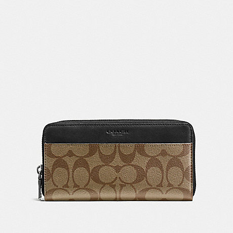 COACH F58112 ACCORDION WALLET IN SIGNATURE CANVAS TAN/BLACK ANTIQUE NICKEL