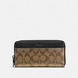 COACH F58112 - ACCORDION WALLET IN SIGNATURE CANVAS TAN/BLACK ANTIQUE NICKEL