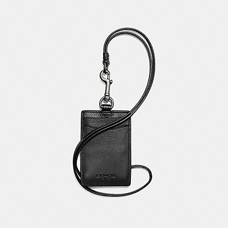 COACH f58114 ID LANYARD IN SPORT CALF LEATHER BLACK