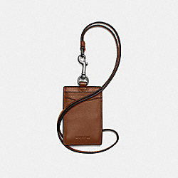 ID LANYARD IN SPORT CALF LEATHER - f58114 - DARK SADDLE