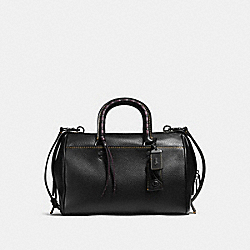 ROGUE SATCHEL WITH EMBELLISHED HANDLE - f58118 - BLACK/BLACK COPPER