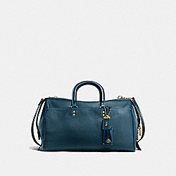 ROGUE SATCHEL 36 IN GLOVETANNED PEBBLE LEATHER - f58119 - OLD BRASS/DARK DENIM