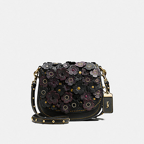 COACH f58128 SADDLE 17 WITH TEA ROSE BLACK/OLD BRASS
