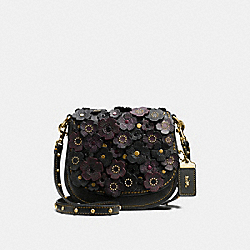 COACH SADDLE 17 WITH TEA ROSE - BLACK/OLD BRASS - F58128