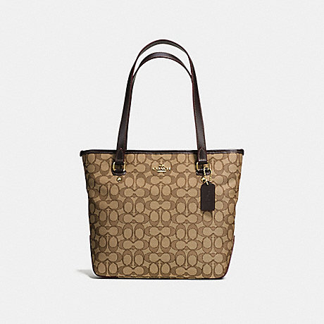 COACH F58282 ZIP TOP TOTE IN OUTLINE SIGNATURE IMITATION-GOLD/KHAKI/BROWN