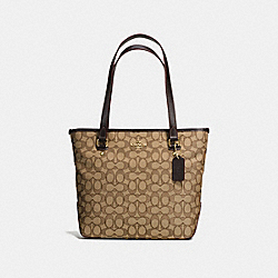 COACH F58282 Zip Top Tote In Outline Signature IMITATION GOLD/KHAKI/BROWN
