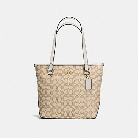 COACH f58282 ZIP TOP TOTE IN OUTLINE SIGNATURE JACQUARD IMITATION GOLD/LIGHT KHAKI/CHALK