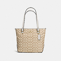 ZIP TOP TOTE IN OUTLINE SIGNATURE JACQUARD - f58282 - IMITATION GOLD/LIGHT KHAKI/CHALK