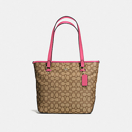 COACH f58282 ZIP TOP TOTE IN OUTLINE SIGNATURE IMITATION GOLD/KHAKI STRAWBERRY