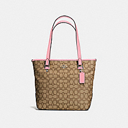COACH F58282 Zip Top Tote In Outline Signature SILVER/KHAKI/BLUSH