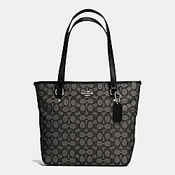 COACH F58282 Zip Top Tote In Outline Signature SILVER/BLACK SMOKE/BLACK
