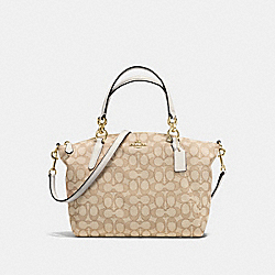SMALL KELSEY SATCHEL IN OUTLINE SIGNATURE - f58283 - IMITATION GOLD/LIGHT KHAKI/CHALK