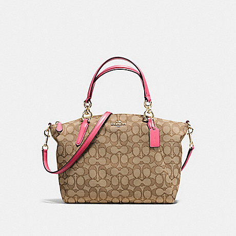 COACH f58283 SMALL KELSEY SATCHEL IN OUTLINE SIGNATURE IMITATION GOLD/KHAKI STRAWBERRY