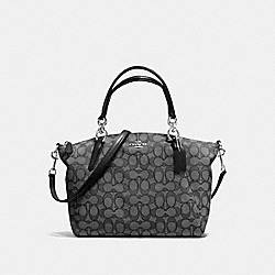 SMALL KELSEY SATCHEL IN OUTLINE SIGNATURE - f58283 - SILVER/BLACK SMOKE/BLACK