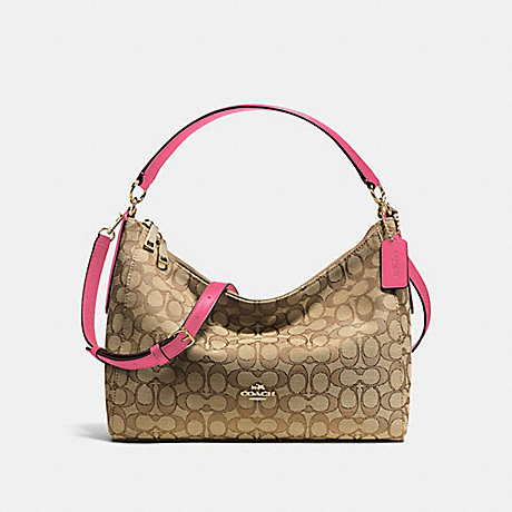 COACH f58284 EAST/WEST CELESTE CONVERTIBLE HOBO IN OUTLINE SIGNATURE IMITATION GOLD/KHAKI STRAWBERRY