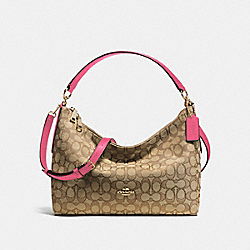 EAST/WEST CELESTE CONVERTIBLE HOBO IN OUTLINE SIGNATURE - f58284 - IMITATION GOLD/KHAKI STRAWBERRY
