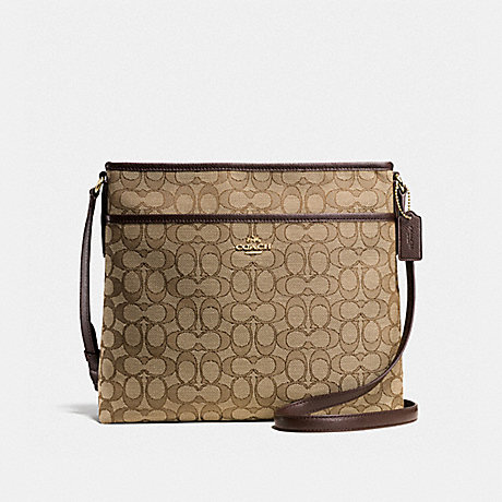 COACH f58285 FILE BAG KHAKI/BROWN/IMITATION GOLD