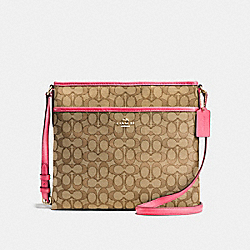 COACH F58285 - FILE BAG IN OUTLINE SIGNATURE IMITATION GOLD/KHAKI STRAWBERRY