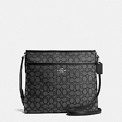 COACH F58285 File Bag In Outline Signature SILVER/BLACK SMOKE/BLACK