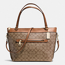 TYLER TOTE IN SIGNATURE COATED CANVAS - f58286 - IMITATION GOLD/KHAKI/SADDLE