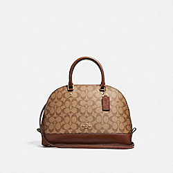 COACH SIERRA SATCHEL IN SIGNATURE COATED CANVAS - LIGHT GOLD/KHAKI - F58287