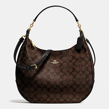 COACH f58289 HARLEY HOBO IN SIGNATURE IMITATION GOLD/BROWN/BLACK