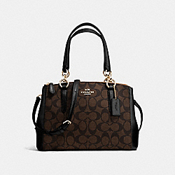 MINI CHRISTIE CARRYALL IN SIGNATURE - f58290 - IMITATION GOLD/BROWN/BLACK