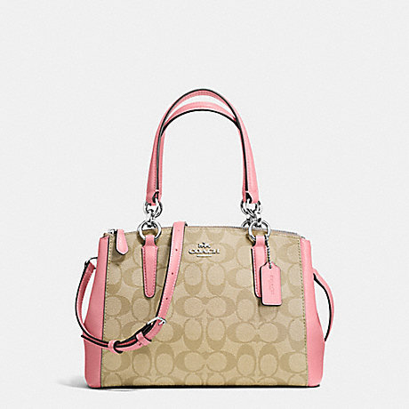 COACH f58290 MINI CHRISTIE CARRYALL IN SIGNATURE COATED CANVAS SILVER/LIGHT KHAKI/BLUSH