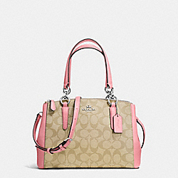 MINI CHRISTIE CARRYALL IN SIGNATURE COATED CANVAS - f58290 - SILVER/LIGHT KHAKI/BLUSH
