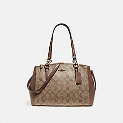 SMALL CHRISTIE CARRYALL - f58291 - LIGHT GOLD/KHAKI