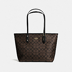 COACH F58292 City Zip Tote In Signature IMITATION GOLD/BROWN/BLACK