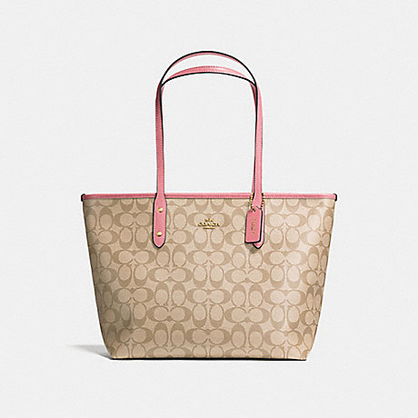 COACH F58292 CITY ZIP TOTE IN SIGNATURE CANVAS LIGHT-KHAKI/PEONY/LIGHT-GOLD