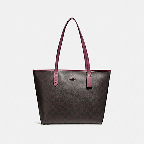 COACH f58292 CITY ZIP TOTE LIGHT GOLD/BROWN ROUGE