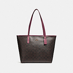 CITY ZIP TOTE - f58292 - LIGHT GOLD/BROWN ROUGE