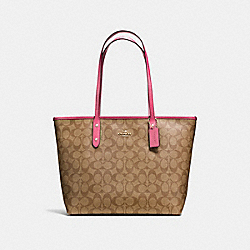 COACH F58292 - CITY ZIP TOTE IN SIGNATURE CANVAS KHAKI/PINK RUBY/GOLD