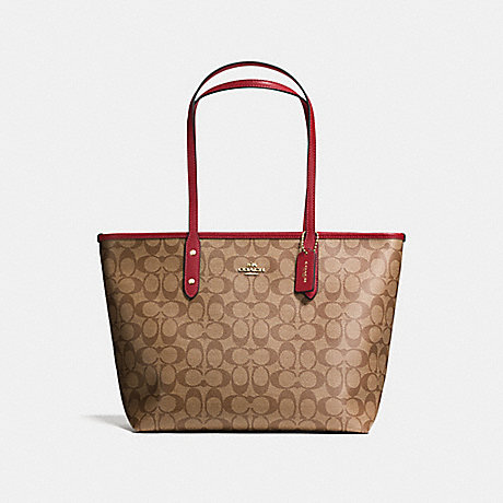 COACH F58292 CITY ZIP TOTE IN SIGNATURE CANVAS KHAKI/CHERRY/LIGHT-GOLD