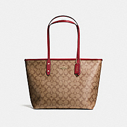 COACH F58292 City Zip Tote In Signature Canvas KHAKI/CHERRY/LIGHT GOLD