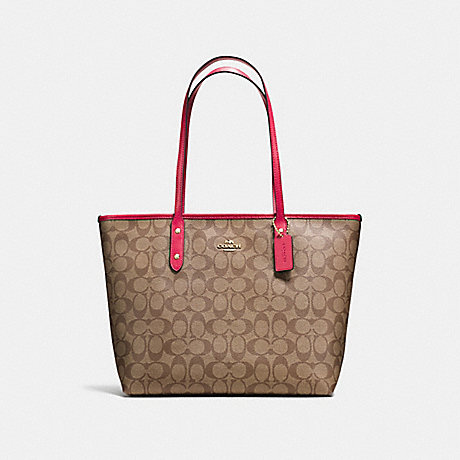 COACH f58292 CITY ZIP TOTE IN SIGNATURE COATED CANVAS IMITATION GOLD/KHAKI/BRIGHT PINK