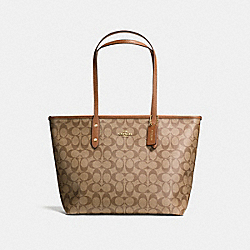COACH F58292 City Zip Tote In Signature Coated Canvas LIGHT GOLD/KHAKI