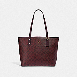 COACH F58292 City Zip Tote In Signature Canvas OXBLOOD 1/LIGHT GOLD
