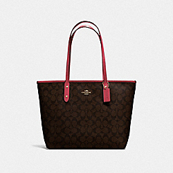 COACH F58292 - CITY ZIP TOTE IN SIGNATURE CANVAS BROWN/STRAWBERRY/IMITATION GOLD