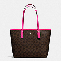 COACH F58292 City Zip Tote In Signature Coated Canvas IMITATION GOLD/BROWN