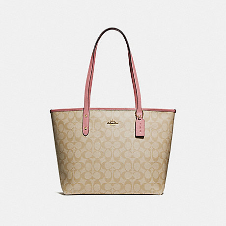 a61106f3fd COACH f58292 CITY ZIP TOTE IN SIGNATURE CANVAS light khaki vintage  pink imitation gold