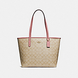 COACH F58292 City Zip Tote In Signature Canvas LIGHT KHAKI/VINTAGE PINK/IMITATION GOLD