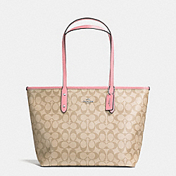 COACH F58292 City Zip Tote In Signature Coated Canvas SILVER/LIGHT KHAKI/BLUSH