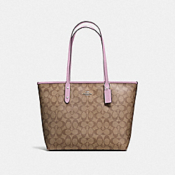 COACH F58292 City Zip Tote In Signature Canvas KHAKI/LILAC/SILVER