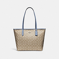 COACH F58292 City Zip Tote LIGHT KHAKI/POOL/SILVER