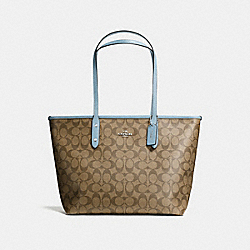 COACH F58292 City Zip Tote In Signature Canvas KHAKI/CORNFLOWER/SILVER